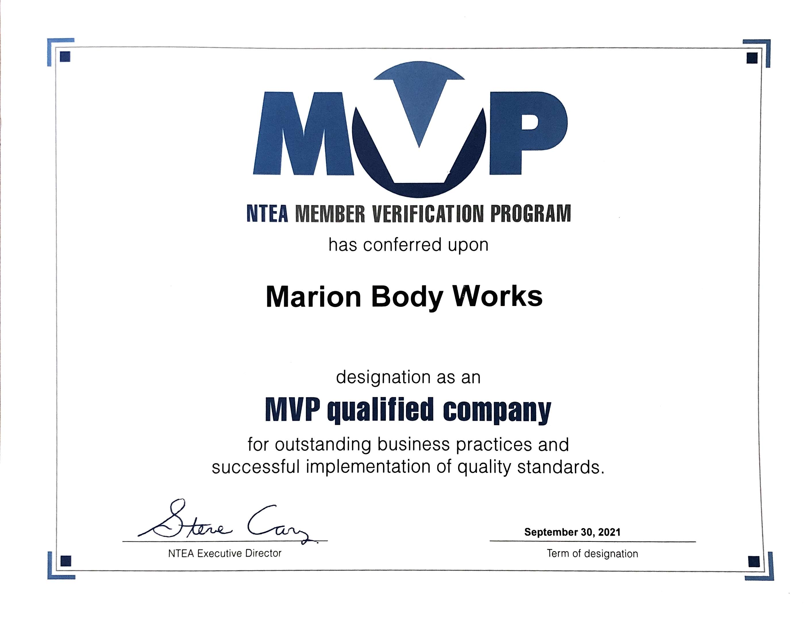 Marion Body Works is Now Certified MVP